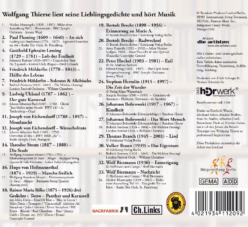 Wolfgang Thierse liest seine Lieblingsgedichte und hört Musik