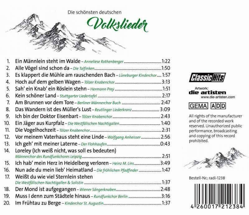 Die schönsten deutschen Volkslieder - Titel
